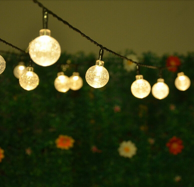 Solar Led String Lights 5M 20LEDs Crystal Ball Globe Fairy Lights For Garden  Wedding Luces Led