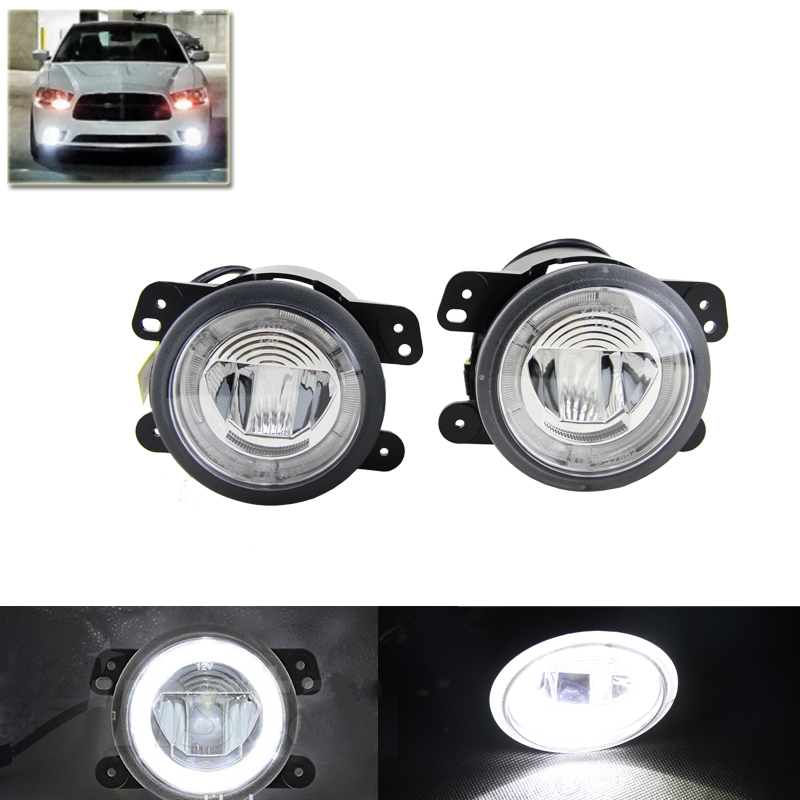 White Led Fog Light Assembly W/ Guide Daytime Running DRL Halo Rings For Jeep Wrangle Grand Cherokee For Dodge Charger Journey ijdm hid white 15 smd 3535 powered 3157 t25 led bulbs for daytime running lights drl for 2011 and up jeep grand cherokee 6000k