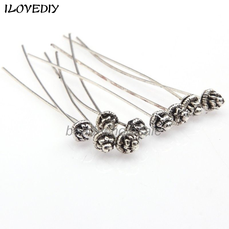 Jewelry & Accessories 20pcs 50mm Antique Silver Gold Color Long Wheel Flower Half Ball Head Pins Supplies For Jewelry Making Diy Accessories Wholesale