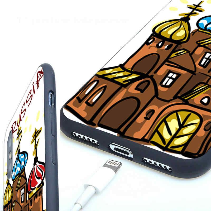 רוסית בובות אדום כיכר פרח רך סיליקון טלפון מקרה עבור iPhone X 5 s 5S XR XS מקסימום 6 6 s 7 8 בתוספת 7 בתוספת 8 בתוספת Capinhas Fundas