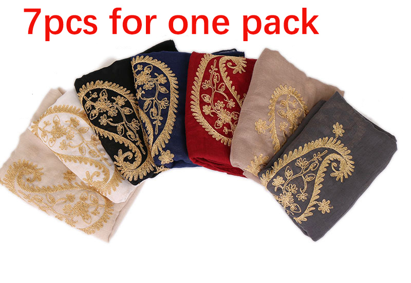 7pcs for pack Cashew embroidered thin scarf embroidered headscarf