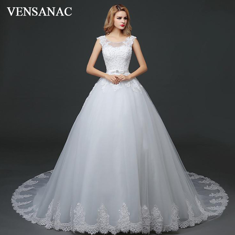VENSANAC 2018 Sequined O Neck Ball Gown Lace Appliques Court Train Wedding Dresses Crystal Bow Sash Open Back Bridal Gowns in Wedding Dresses from Weddings Events