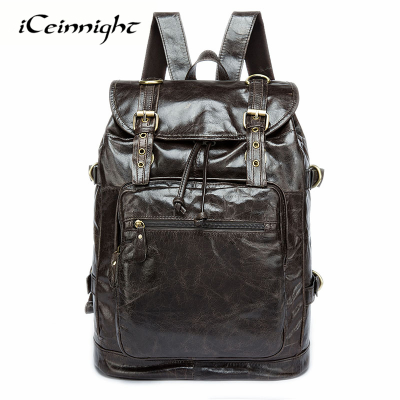 iCeinnight Genuine Leather Men Backpack Fashion School Bag Men's Travel Bag Real Leather Document Laptop Bags Men Backpack Male