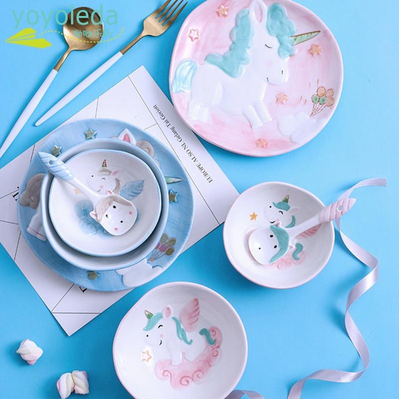 4pcs/set Ceramic Dinnerware Children Unicorn Cartoon Tableware Set Dinner Plate Baby Training Bowl Spoon For Kids Cutlery Set