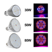 30W 50W 80W Full Spectrum E27 AC85 265V 5730SMD LED Grow Light Lamp For Plants And