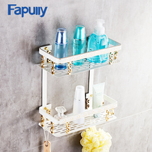 Fapully Bathroom Shelves Dual Tier Wall Corner Mounted Storage Basket Rack Holder Bathroom Shelf