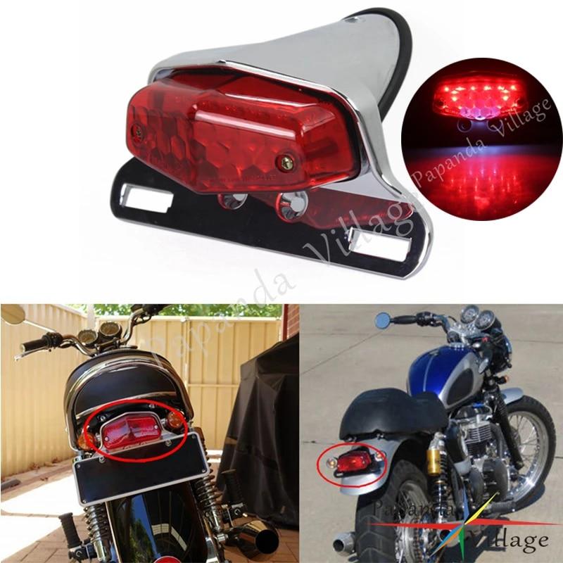Motorcycle Chrome Smoke LED Tail Brake License Plate Light Lamp Bobber Chopper