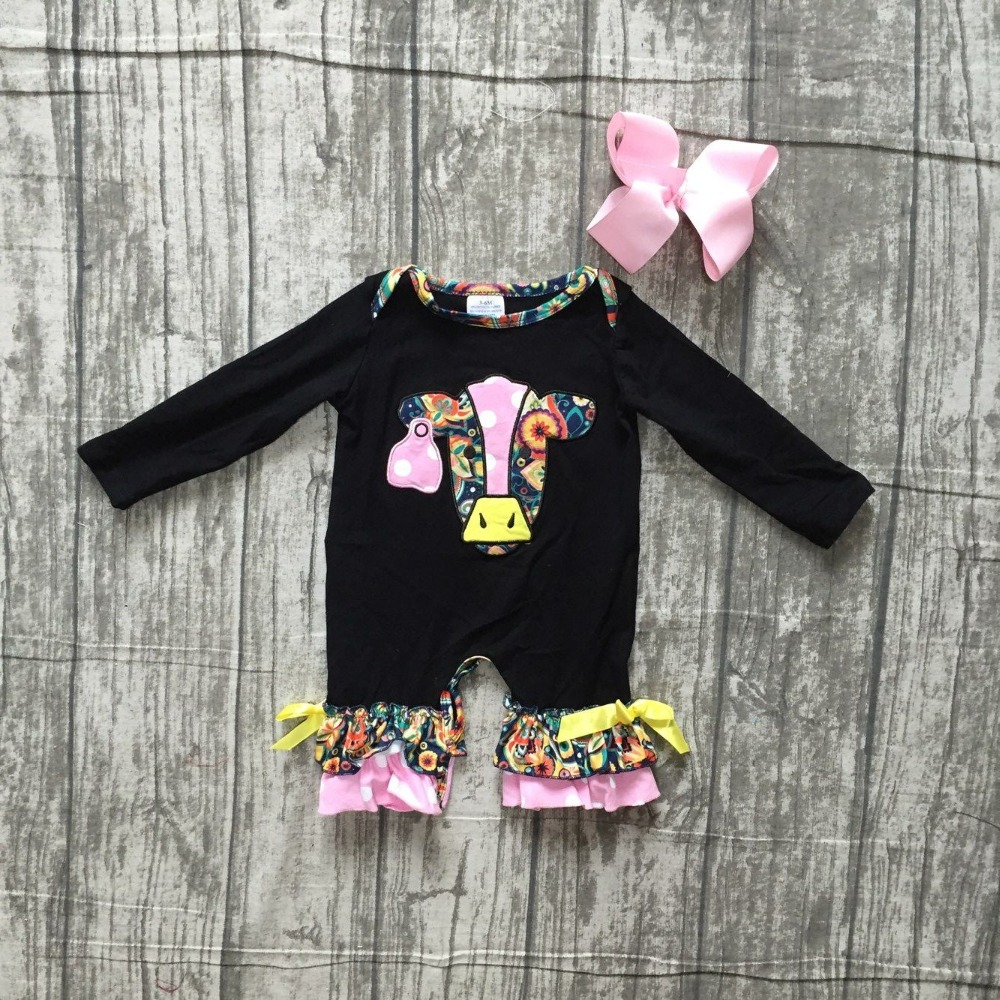 new arrival black floral Fall/winter baby girls boutique clothing cow cute infant cotton fashion tutu   romper   Toddler match bow