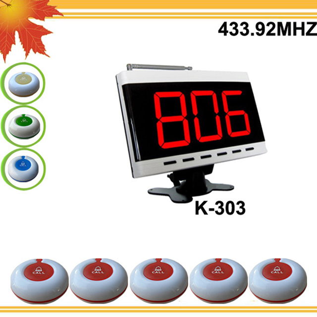 433.92mhz Nice Cheap Hotel pager system consist of 1 desktop pager for counter and 5 100% waterproof bells DHL free shipping