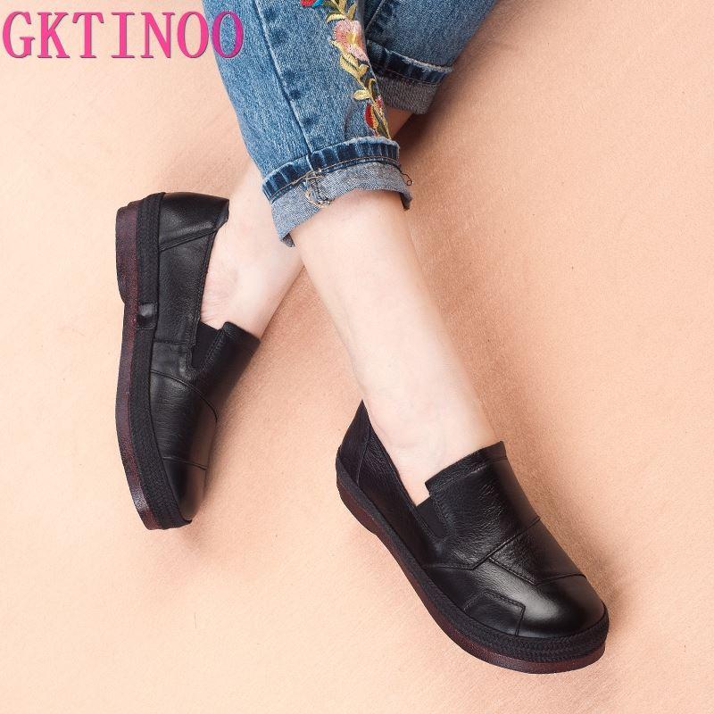 GKTINOO Women s Retro Shoes 2019 Spring Autumn Genuine Leather Women Shoes Flat Platform Ladies Shoe
