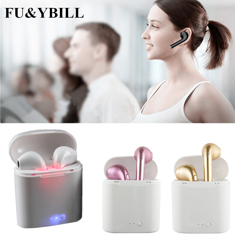 Fu&y Bill New i7 bluetooth earphone Twins Bluetooth V4.2 Stereo Headset earphone For Iphone X/8/7plus/7/6s/6 plus Galaxy S8Plus