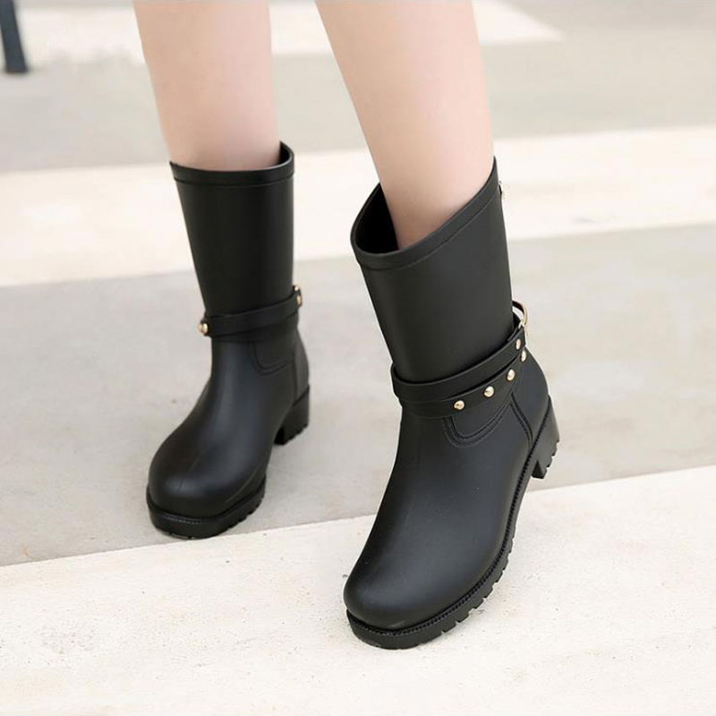 Women Fashion Rain Boots Ladies Charm Rivets Bordered Slip Rubber ...