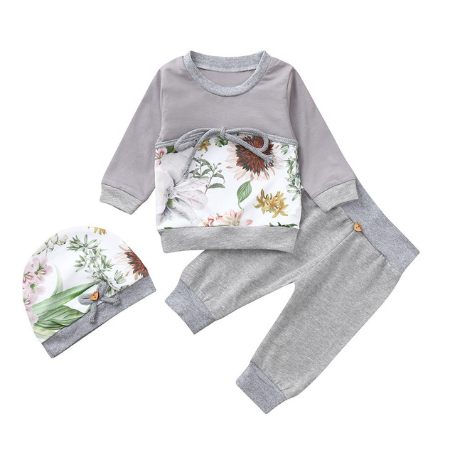 MUQGEW 2018 baby girls clothes set girls clothing 3PCs Floral Print Tops Pants Hat Winter clothes for children roupas menina 1