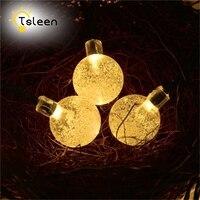 TSLEEN 2PCS Crystal Ball LED Fairy String Light Outdoor Lighting Solar Powered Lamp Wedding Christmas Party