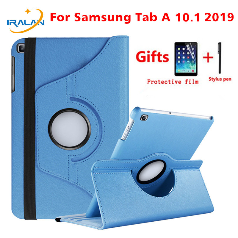 360 Rotating <font><b>Case</b></font> for Samsung Galaxy Tab A 10.1 2019 <font><b>T510</b></font> T515 Stand PU Leather Cover for <font><b>SM</b></font>-<font><b>T510</b></font> <font><b>SM</b></font>-T515 10.1 inch <font><b>case</b></font>+Stylus image