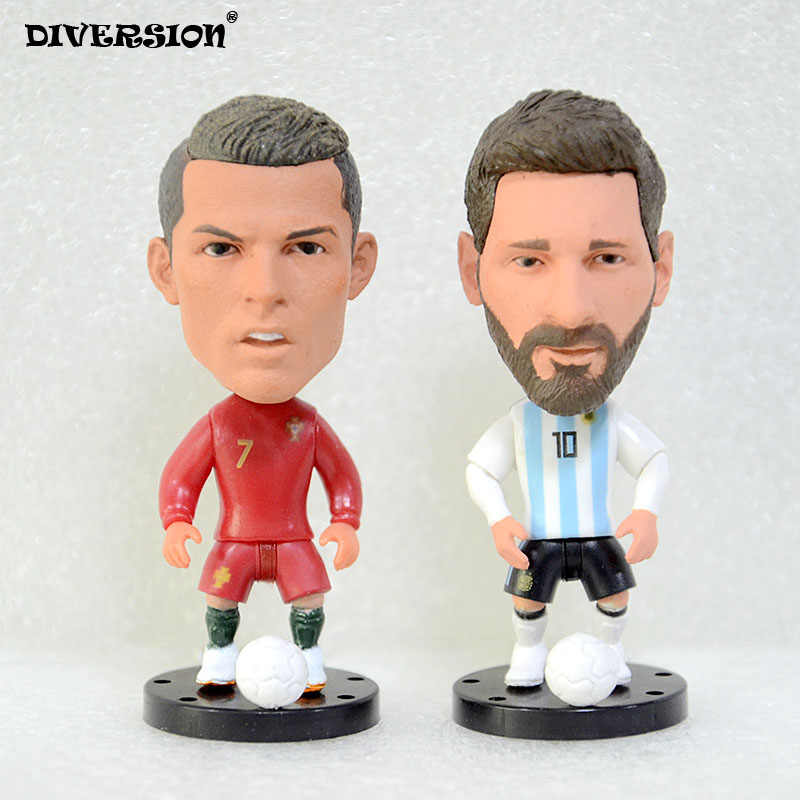 "Soccer Player Star 7# Ronaldo (POR-2018) 2.5"" 10# MESSI (AR-2018) action Figure toys soccerwe dolls footballer star"