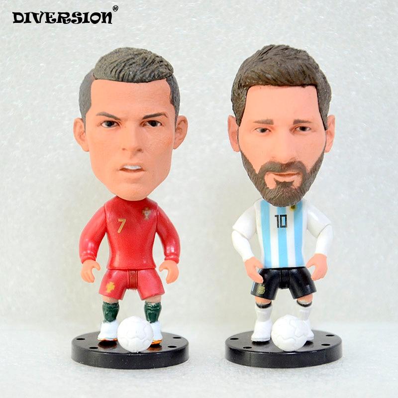 """Soccer Player Star 7# Ronaldo (POR-2018) 2.5"""" 10# MESSI (AR-2018) action Figure toys soccerwe dolls footballer star"""