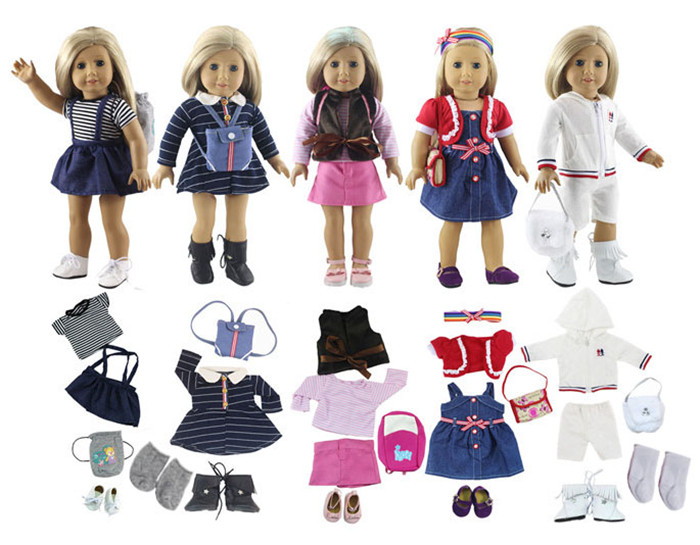 Lot 17 Item=5 Set Doll Clothes+5 Pair Shoes+5 Pieces Bag+2 Pair Socks for 18 Inch American Girl Doll Handmade Casual Wear Outfit 17 5