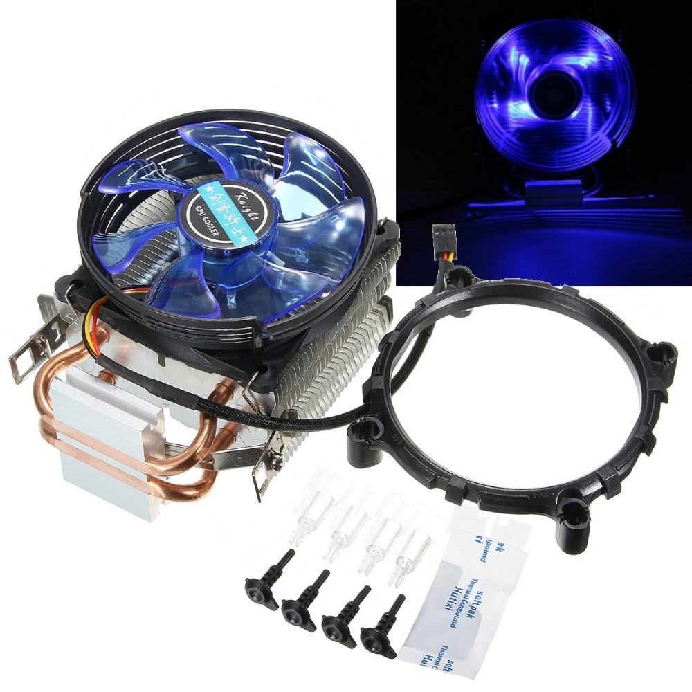12V Dual CPU Cooler Fan Quiet Blue LED Light 92x92x25mm 3pin Powerful Fan for Intel LGA775/1156/1155 for AMD AM2/AM2+/AM3 universal cpu cooling fan radiator dual fan cpu quiet cooler heatsink dual 80mm silent fan 2 heatpipe for intel lga amd