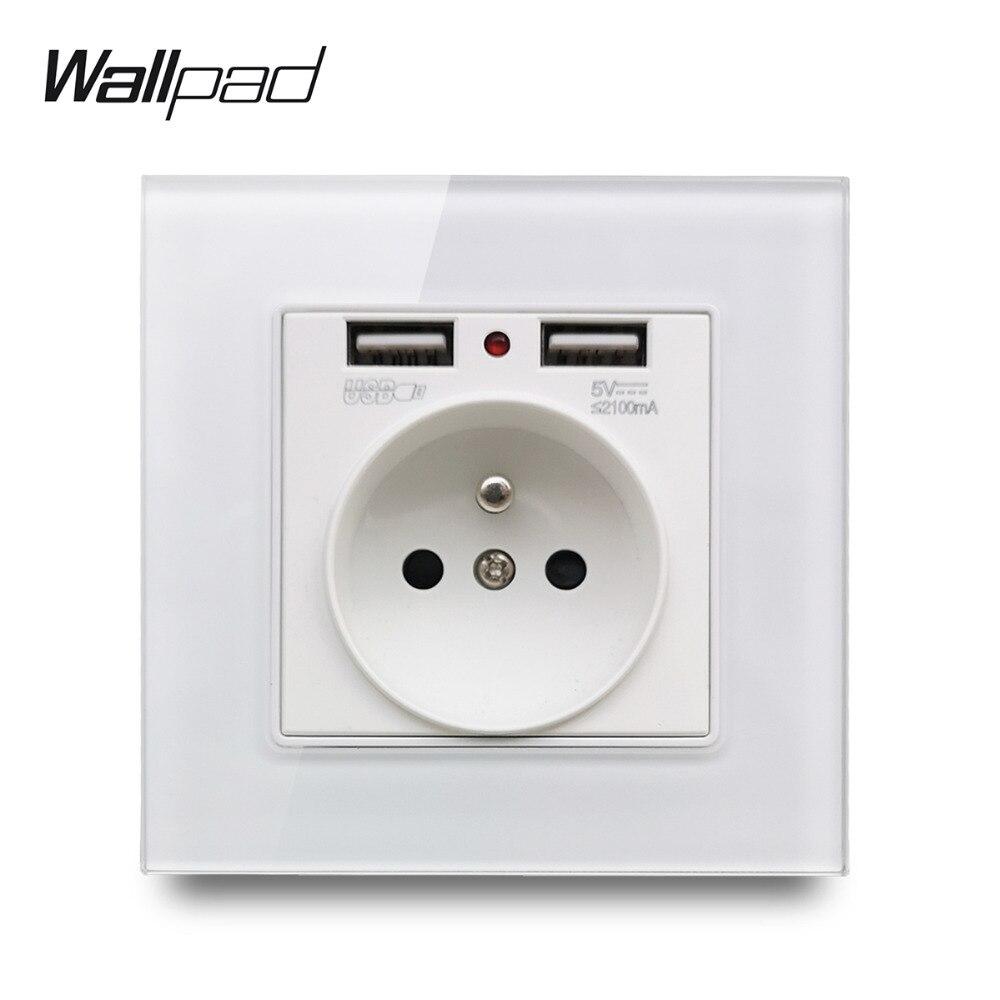 Walpad S7 Panel de vidrio blanco y negro enchufe de pared francés con 2 puertos de carga USB, placa de toma de corriente única