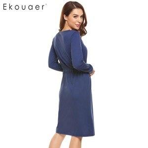 Image 5 - Ekouaer Women Vintage Sleep Dress Women Sleepwear Long Sleeve Lace Patchwork Button Down Sleepshirt Nightgown Sleep Lounge Dress