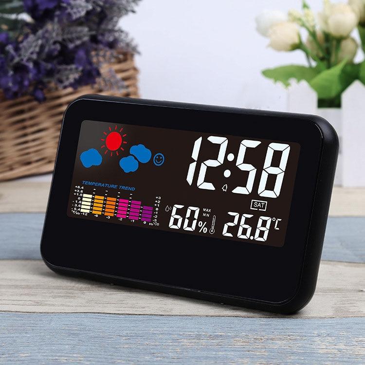 HOT Digital Weather Station Thermometer Hygrometer Alarm Clock Colorful LED Display Smart Sound Control Calendar Clocks