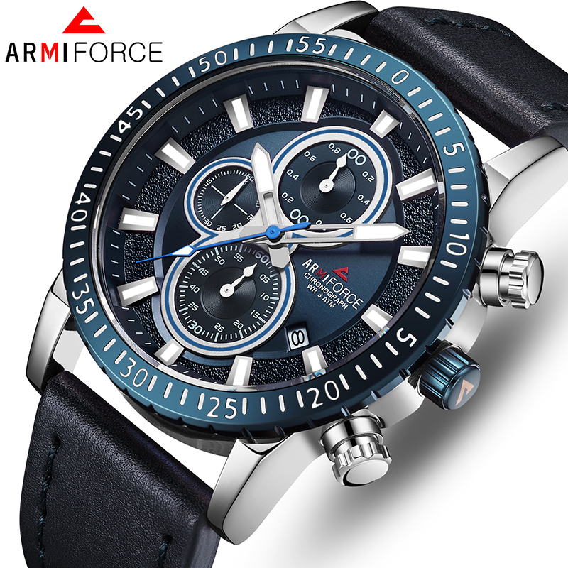 ARMIFORCE Brand TOP Luxury Men Watches Business Mens Leather Sport Watches Quartz Men's Watch Waterproof Clock Relogio Masculino