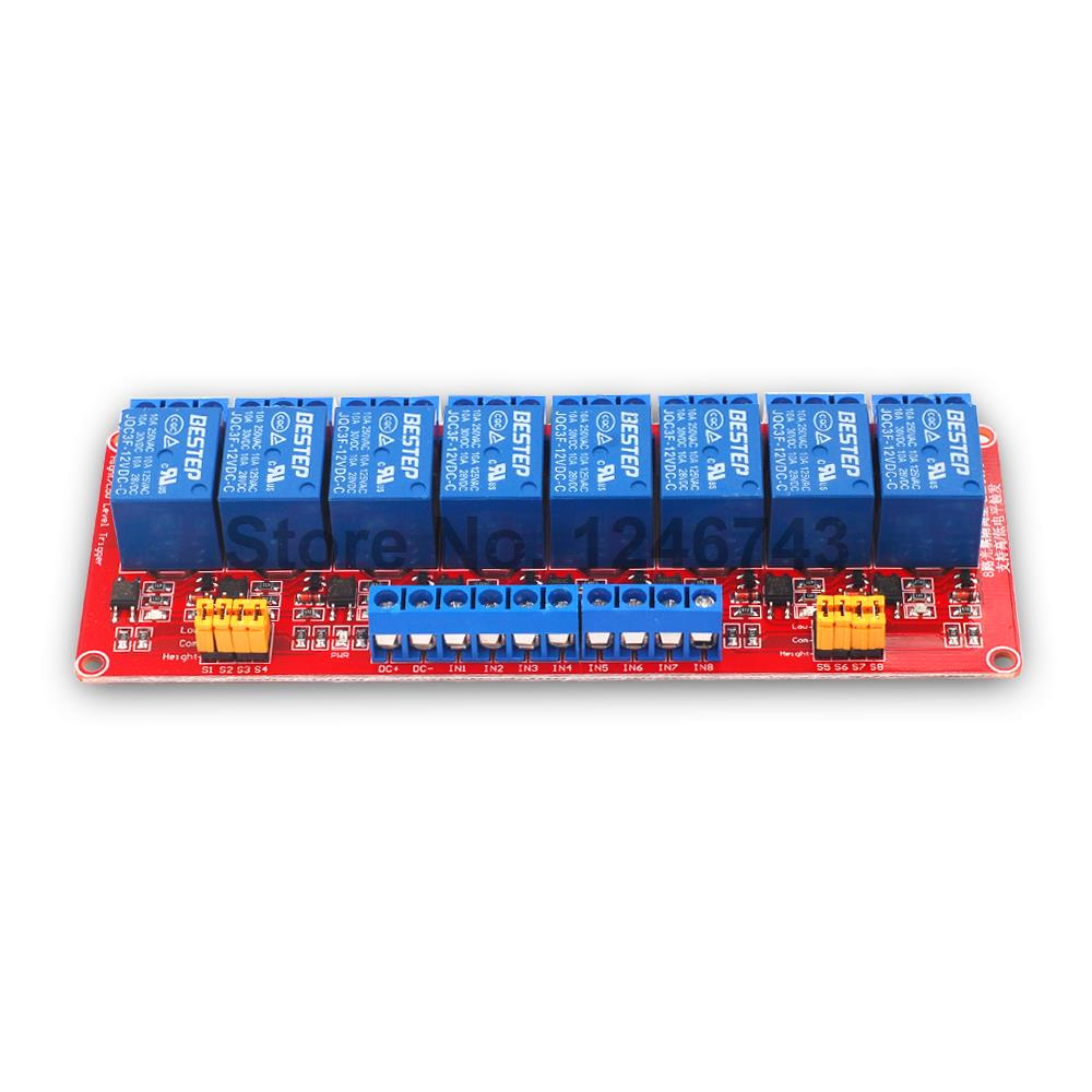 1PCS Red 8 Channel 12V Relay Module High And Low Level Isolation Optocoupler