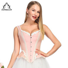 TOPMELON Retro Victorian Corset Steampunk Floral Boned Corsets Tops Women Lace Strap Slim Bustiers Gothic Up Corselet