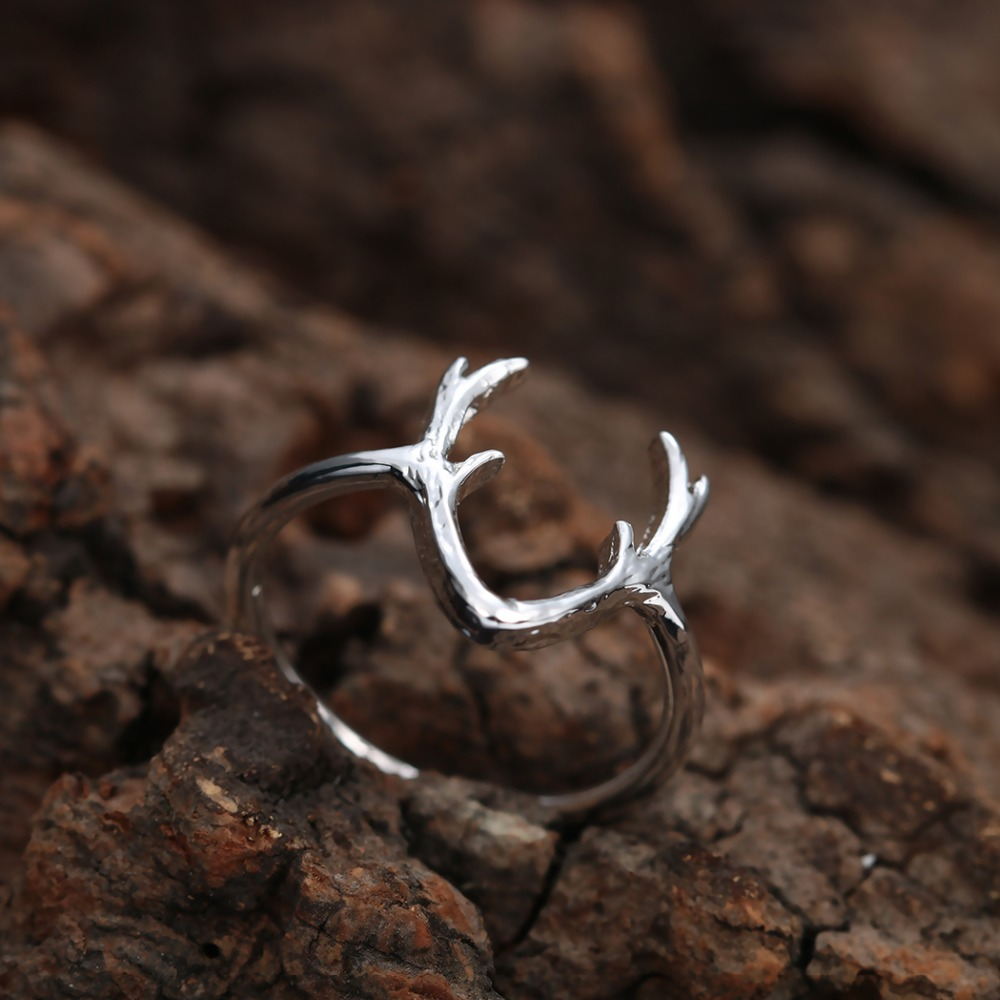 Chereda Cute Deer Rings for Women Silver Elegant Personality Statement Knuckle Ring Party Engagement Jewelry in Rings from Jewelry Accessories