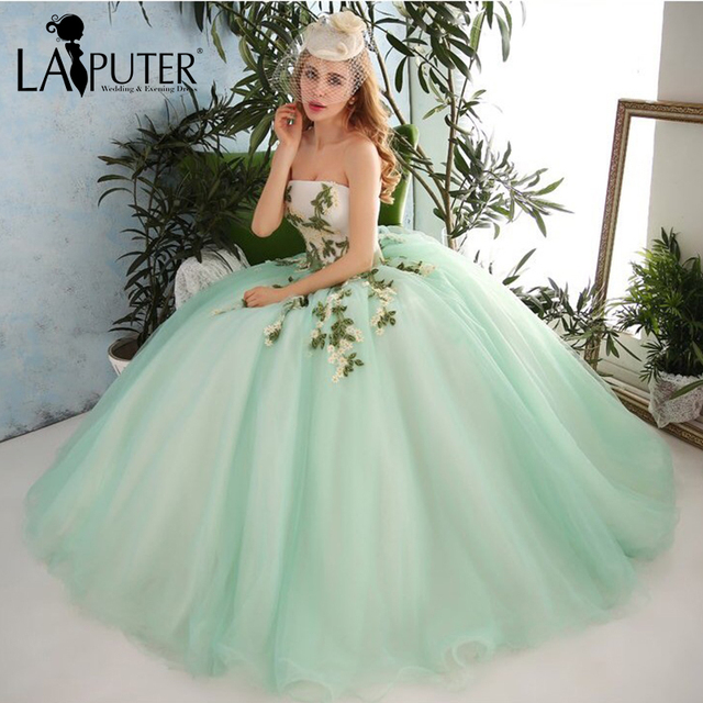 Charming Strapless Beading Appliques Handmade Flowers Tulle Ball ...