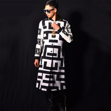 Funky Prints Men's Long Jacket Dancer Singer Dress Slim Trench Coat