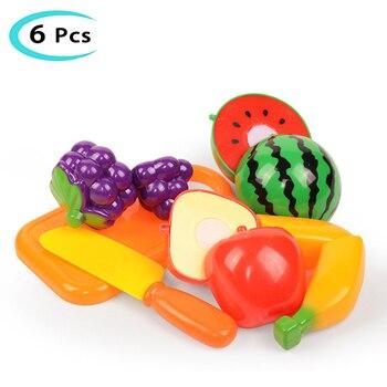 Juego de frutas de juguete de corte vegetal, juego de imitación de comida de cocina, juego de corte de cocina de plástico, juguetes para niños, regalos