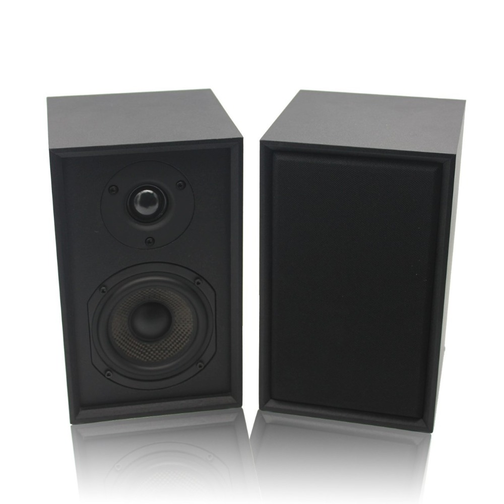 2-Way Bookshelf Speakers Pair with 4-Inch Carbon Fiber Woofer and Silk Dome Tweeter Black