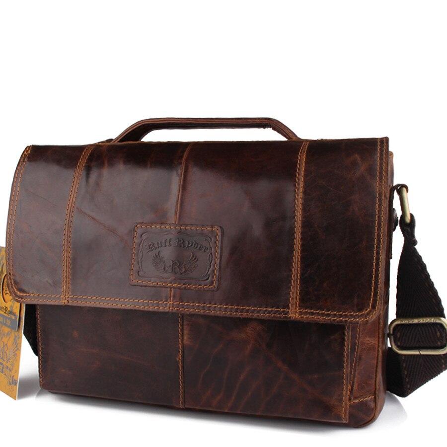 Ruff Ryder New Vintage Men Genuine Oil Wax Leather Business bags Laptop  Tote Briefcases Crossbody bag Handbag Men s Shoulder Bag be0ac23300405