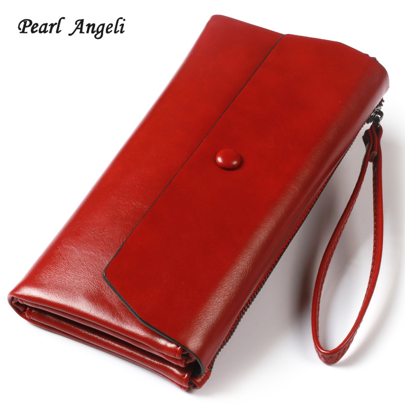 Pearl Angeli 2018 Mjukt Läder Långa Kvinnor Plånbok Hasp Wristlet - Plånböcker - Foto 1