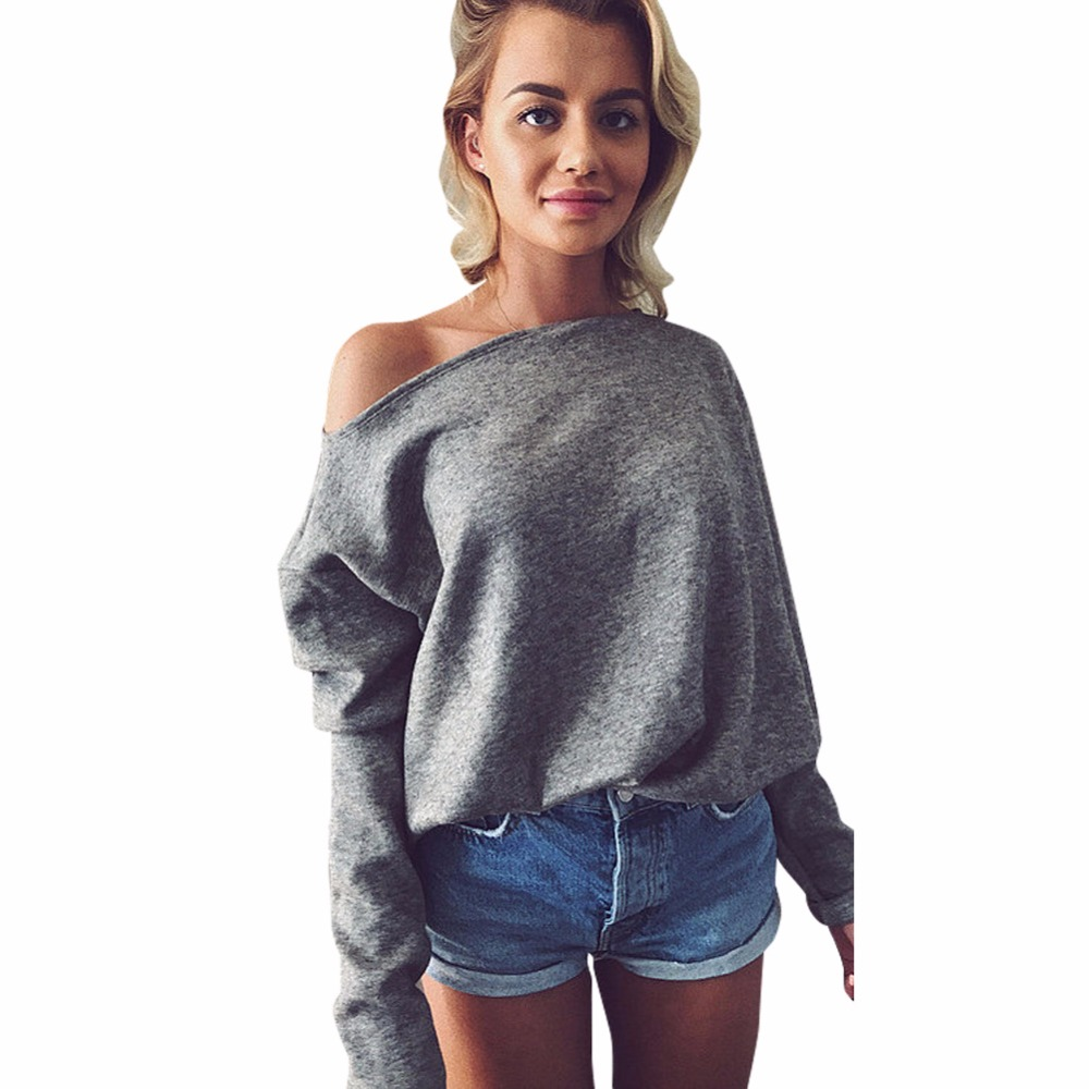 2019 New Autumn Spring Knitting Sweaters Sexy Off Shoulder Long Sleeve Pull Femme Loose Female Sweaters Fashion Women Clothing