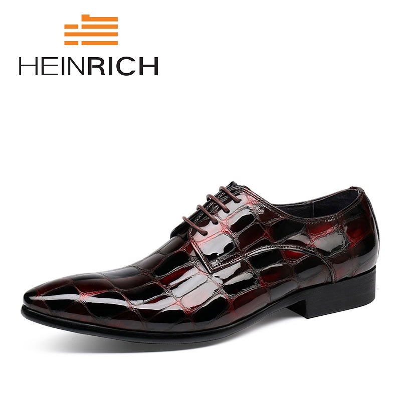 HEINRICH New 2018 Fashion Men Dress Shoes Leather Lace-Up Pointed Toe Office Derby Male Shoes Zapatos De Vestir Hombre new 2018 fashion men dress shoes black leather pointed toe male business shoes lace up men falt office shoes yj b0035