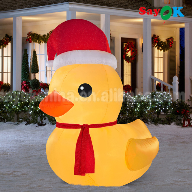 66 feet inflatable rubber christmas yellow duck with blower and led light funny for yard christmas - Christmas Duck