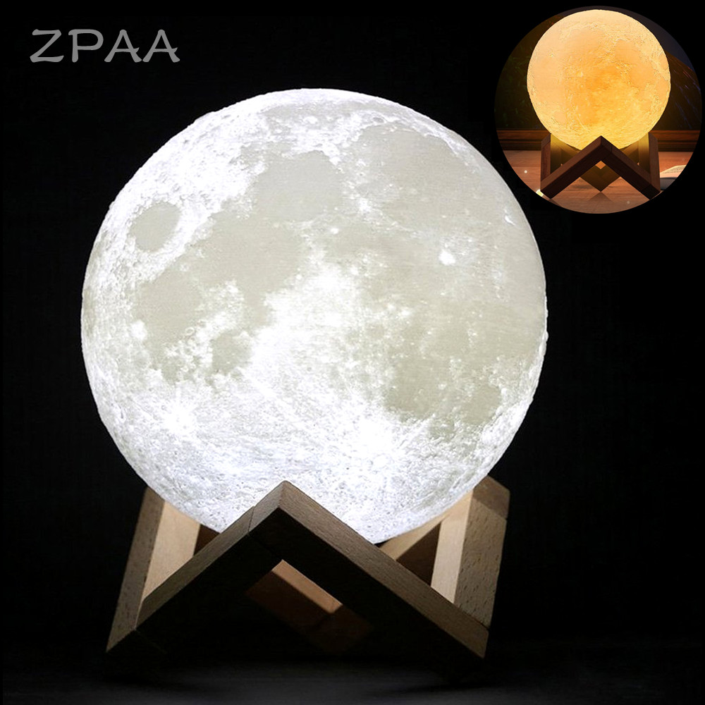 20CM 15CM 3D Printed Moon Lamp LED Baby Night Light Table Desk Lamp USB Charging Wooden Base Touch Lunar Lamp best birthday gift 3d led usb wooden night table lamp desk light modern luminaria de mesa acrylic kid bedroom bulbing creative gift abajur 110 240v