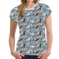 Customized Blue Novelty Animal Horse T Shirt for Women Unique Colorful Ladies Summer Tee Tops Casual 3d Female Tshirt Spandex