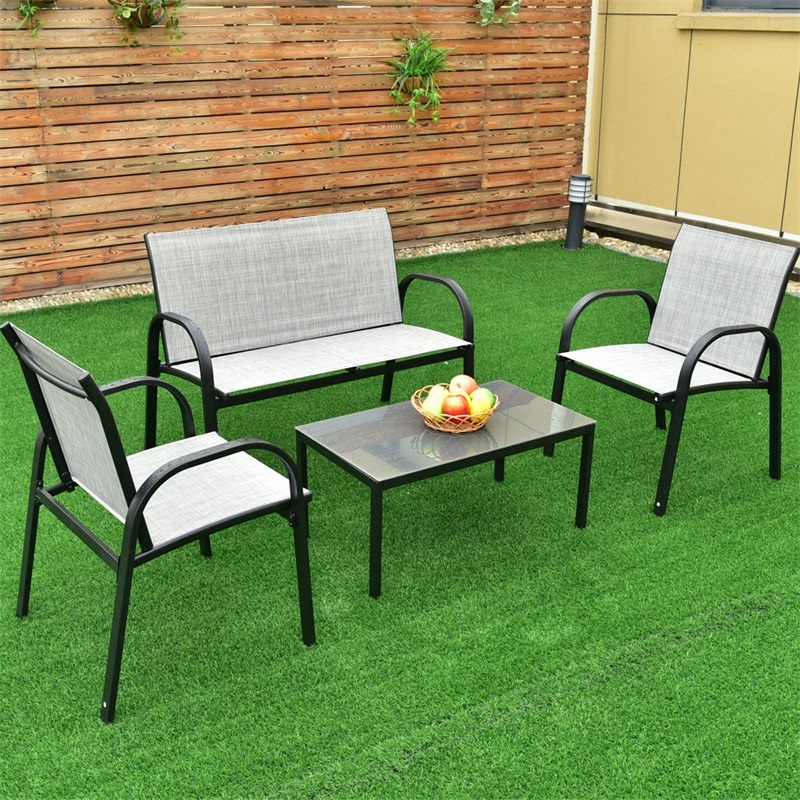 4 Pcs Patio Furniture Set With Glass Top Coffee Table Solid Steel Frame Large Table Top Fashionable And Modern Style