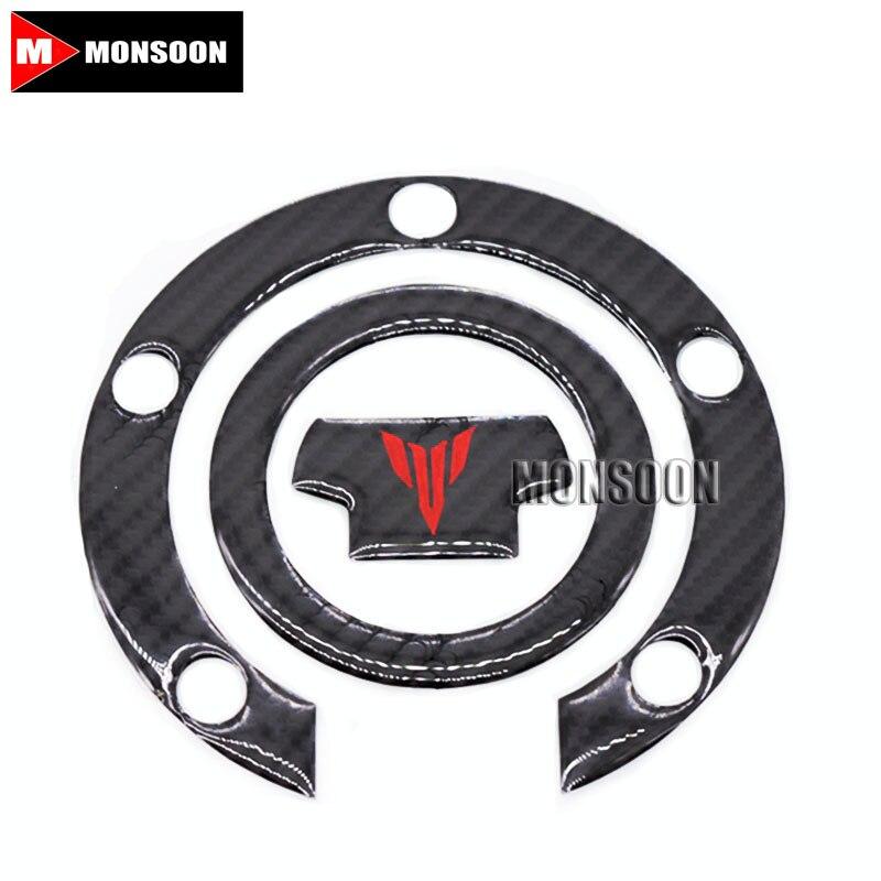 For YAMAHA MT-07 MT-09 MT07 MT09 MT 09 MT 07 Motorcycle 3D Carbon Fiber Tank Gas Cap Pad Filler Cover Sticker Decals