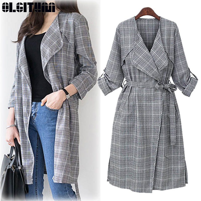 New 2019 Female Spring Large Size Temperament Women Waist Thin Thousand Bird Plaid Long Windbreaker   Trench   TR148