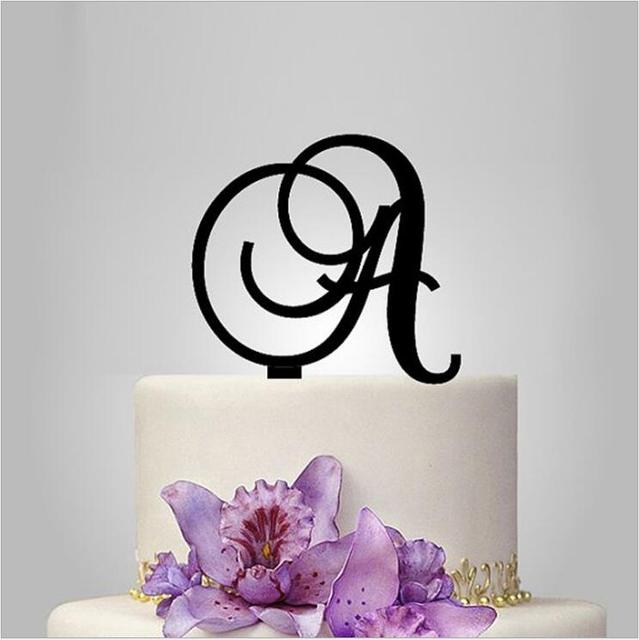 customize monogram acrylic cake toppers in letter wedding cake