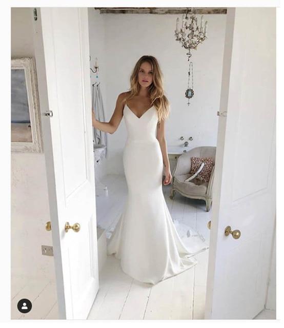 LORIE Mermaid Beach Abito Da Sposa Cinghie di Spaghetti 2019 Della Sirena Vestito Da Sposa Custom Made Sexy Fata Bianco Avorio Abito Da Sposa