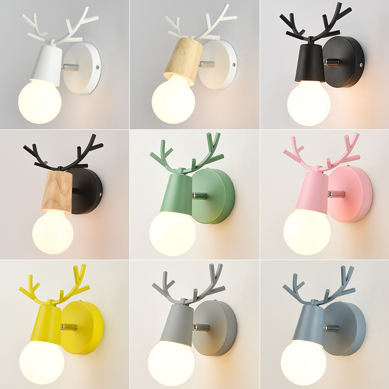Juliyang Colorful Deer Head Wall Light With Pull Switch White Black Adjustable Angle Bed Room Living Room Wall Lamp