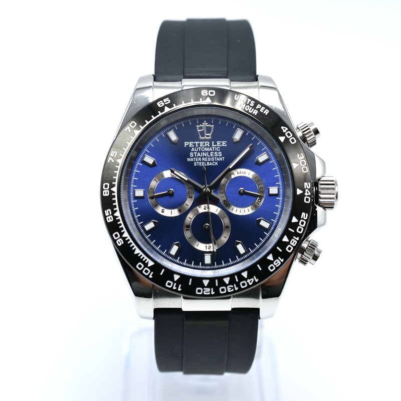 PETER LEE Royal Oak | Nautica Watches | Brand Luxury Silicone Chronograph Automatic 40mm Mechanical Trendy Men Watch Sport Mens Military Watch Male Business Clock
