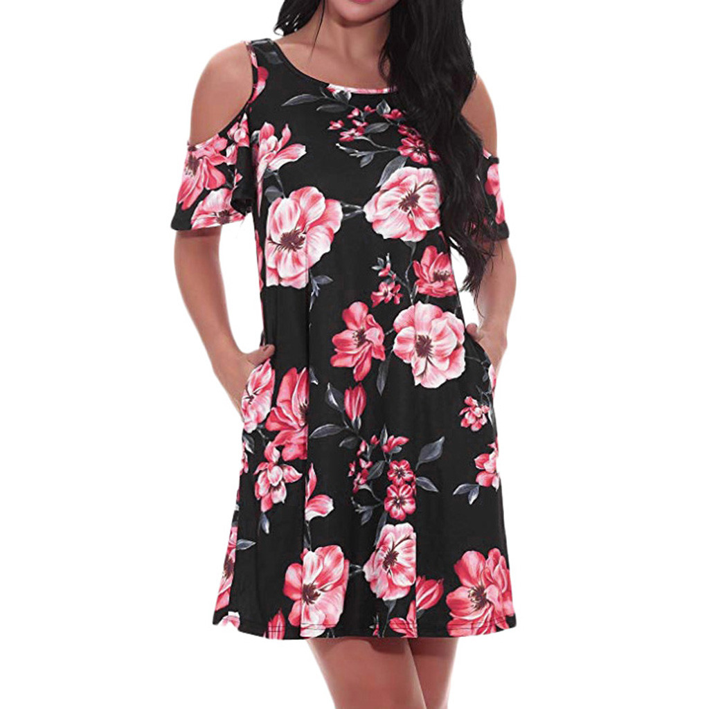 HTB1DCFZaPnuK1RkSmFPq6AuzFXaN Women's Casual Off Shoulder Dress Short Sleeve Flower Print  Loose Summer Mini Dress Fashion beach dresses vestidos verano 2019