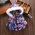 M & F de Alta Qualidade Casaco Jaqueta de Inverno do Outono do Algodão Bebê Infantil brasão & Outwear Bonito Dot Criança Crianças Roupas Menina Com Capuz Para Baixo Parka